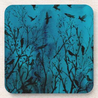 Dessous-de-verre Corneilles d'aquarelle en bois la nuit