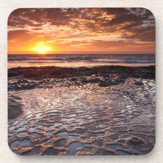 Dessous-de-verre Coucher du soleil à la plage, la Californie