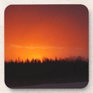 Dessous-de-verre Coucher du soleil rouge de lueur