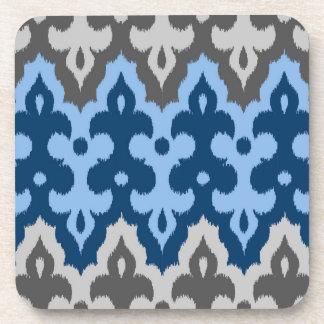Dessous-de-verre Damassé d'Ikat de Marocain, bleu et gris/gris