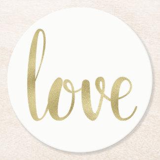 Dessous de verre d'amour d'or, jetable, ronds dessous-de-verre rond en papier