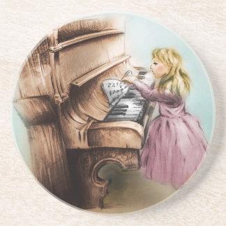 Dessous de verre de grès de fille de piano, art