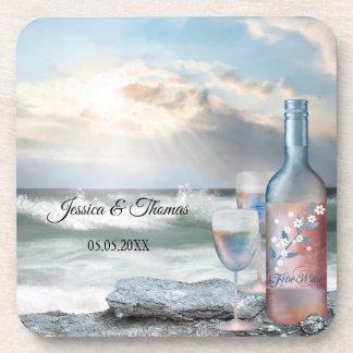 Dessous de verre de mariage de plage peints par