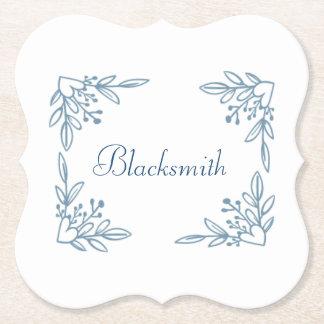 Dessous de verre de nom de famille de fleur dessous-de-verre en papier