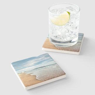 Dessous de verre de pierre de plage sablonneuse dessous-de-verre en pierre