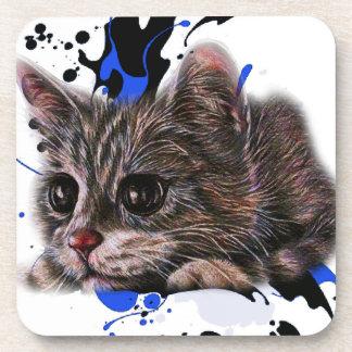 Dessous-de-verre Dessin de chaton comme chat avec l'art de peinture