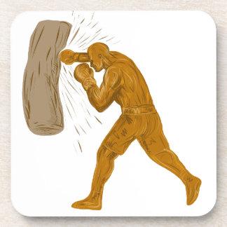 Dessous-de-verre Dessin de sac de sable à boxeur