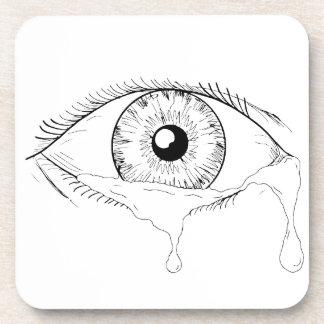 Dessous-de-verre Dessin débordant pleurant de larmes d'oeil humain