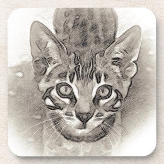 Dessous-de-verre Dessin mignon de chaton du Bengale
