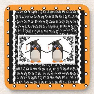 Dessous-de-verre Deux pingouins de graduation, ABC ont cranté