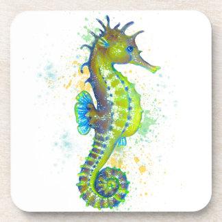 Dessous-de-verre Éclaboussure d'hippocampe de vert jaune