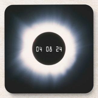 Dessous-de-verre Éclipse 2024 solaire totale en noir et blanc