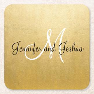 Dessous de verre élégants personnalisés de mariage dessous-de-verre carré en papier