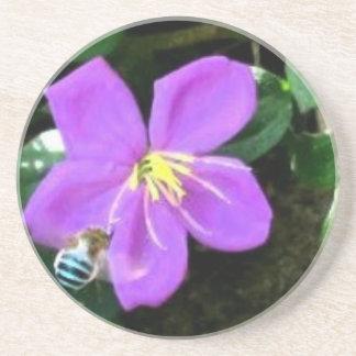 Dessous De Verre En Grès Abeille et fleur bleues