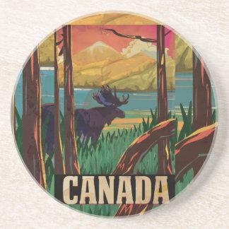 Dessous De Verre En Grès Affiche vintage de voyage du Canada
