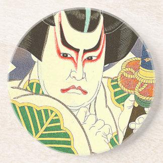 Dessous De Verre En Grès Art d'acteur de Kabuki de Japonais par le 名取春仙 de