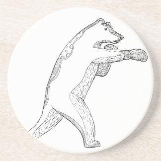 Dessous De Verre En Grès Art de boxe de griffonnage d'ours gris