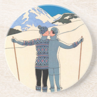 Dessous De Verre En Grès Art déco vintage, amants dans la neige par George