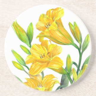 Dessous De Verre En Grès Art floral jaune d'hémérocalles d'aquarelle