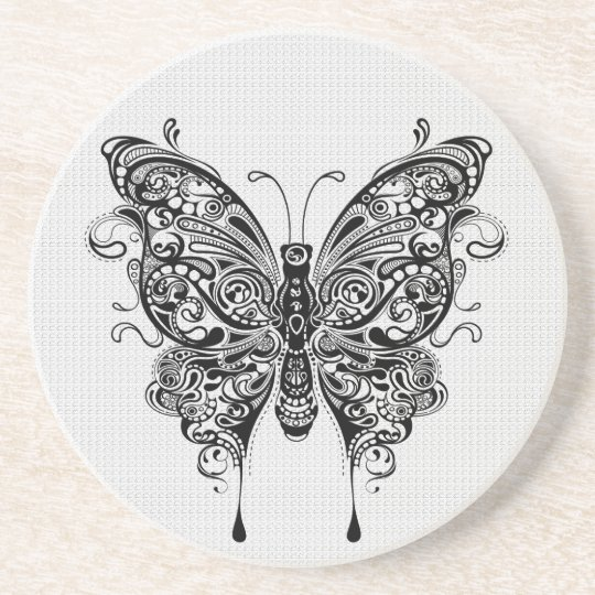 dessous de verre en gr s art noir et blanc de papillon tatouage. Black Bedroom Furniture Sets. Home Design Ideas