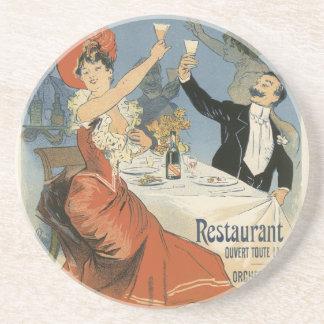 Dessous De Verre En Grès Art vintage Nouveau, restaurant d'Olympia de