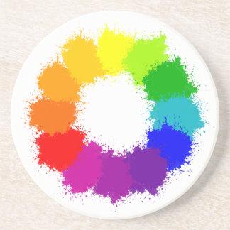 Dessous De Verre En Grès Artiste de roue de couleur et professeur d'art