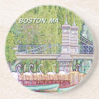 Dessous De Verre En Grès Bateaux de cygne de Boston dans le filtre de