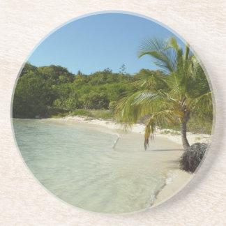 Dessous De Verre En Grès Beau paysage tropical de plage antiguaise