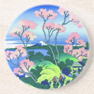 Dessous De Verre En Grès beaux-arts de fleurs de cerisier de Hokusai de
