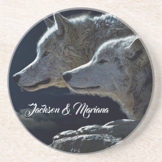 Dessous De Verre En Grès Beaux loups gris la nuit
