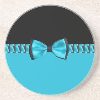 Dessous De Verre En Grès Bleu de turquoise et cravate et ruban d'arc chics