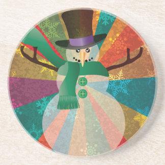 Dessous De Verre En Grès Bonhomme de neige de Noël avec les flocons de