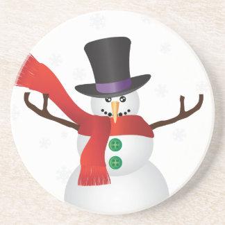 Dessous De Verre En Grès Bonhomme de neige de Noël avec l'illustration de