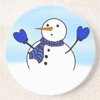 Dessous De Verre En Grès Bonhomme de neige mignon avec les mitaines bleues