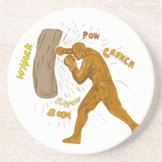 Dessous De Verre En Grès Boxeur frappant le dessin de sac de sable