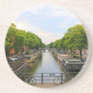 Dessous De Verre En Grès Canal, ponts, vélos, bateaux, Amsterdam, Hollande