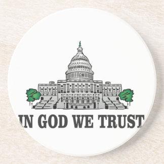 Dessous De Verre En Grès capital dans un dieu que nous faisons confiance