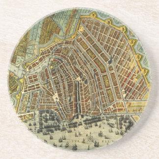Dessous De Verre En Grès Carte antique d'Amsterdam, Hollande aka Pays-Bas