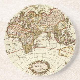 Dessous De Verre En Grès Carte antique du monde, C. 1680. Par Frederick de