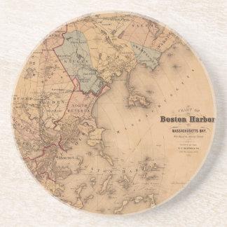 Dessous De Verre En Grès Carte de Boston 1861