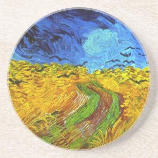 Dessous De Verre En Grès Champ de blé avec des beaux-arts de Van Gogh de