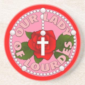 Dessous De Verre En Grès Chapelet notre Madame de Lourdes