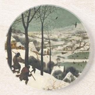 Dessous De Verre En Grès Chasseurs dans la peinture d'hiver