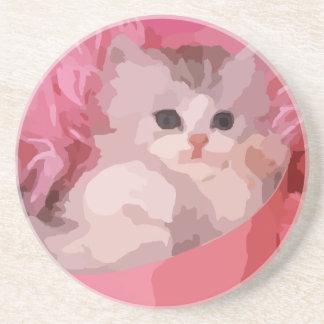 Dessous De Verre En Grès chaton pelucheux rose