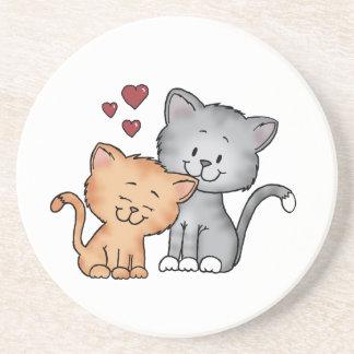 Dessous De Verre En Grès Chats dans l'amour - cadeau de jour de Valentines