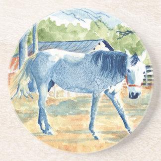 Dessous De Verre En Grès Cheval bleu