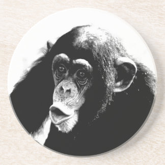 Dessous De Verre En Grès Chimpanzé blanc noir