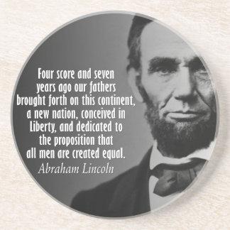 Dessous De Verre En Grès Citation d'Abe Lincoln - adresse de Gettysburg