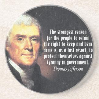 Dessous De Verre En Grès Citation de Thomas Jefferson du côté droit de