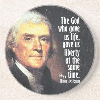 Dessous De Verre En Grès Citation de Thomas Jefferson sur Dieu et la